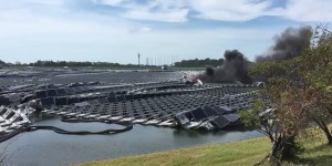日本最大水上漂浮光伏电站因强风失火